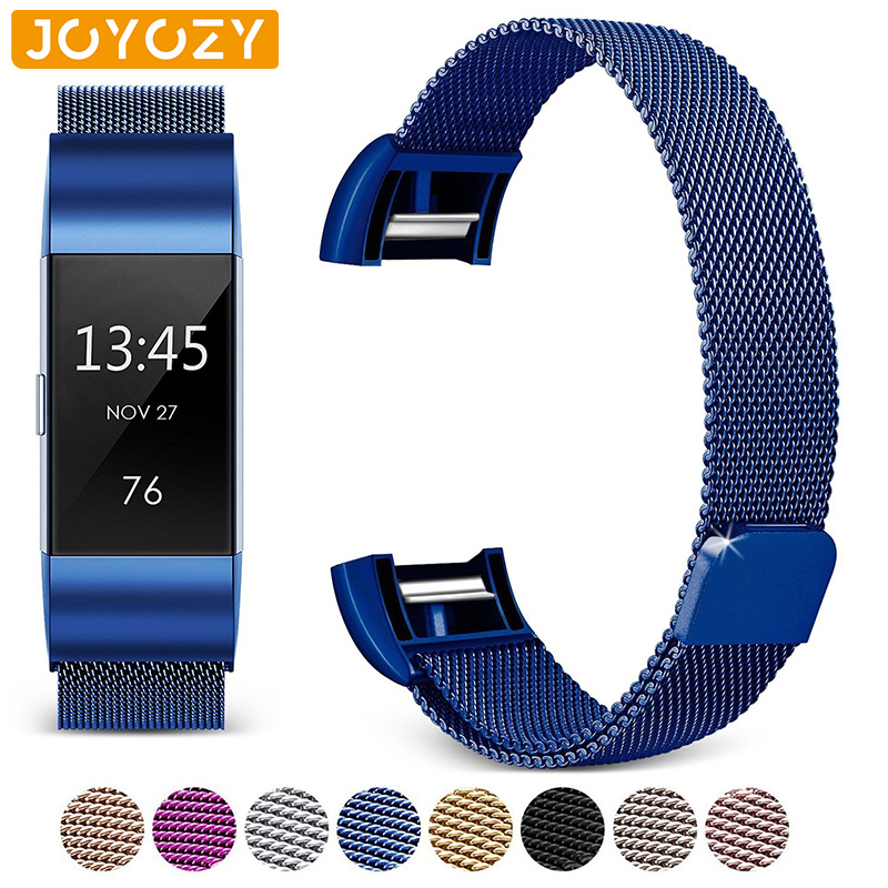 Joyozy Stainless Steel Magnetic Mesh Loop Band For Fitbit Charge 2 Replacement Wristband Strap For Fitbit Charge 2 Watchband