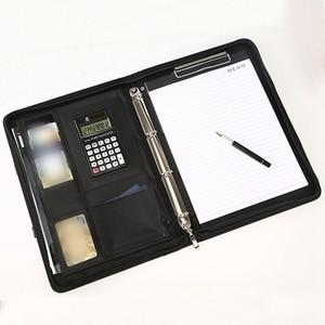 Image 4 - A4 עור מפוצל נייד קובץ תיקיית עם מחשבון רב פונקציה עסקי מסמך רפידות מנהל תיק ציוד משרדי