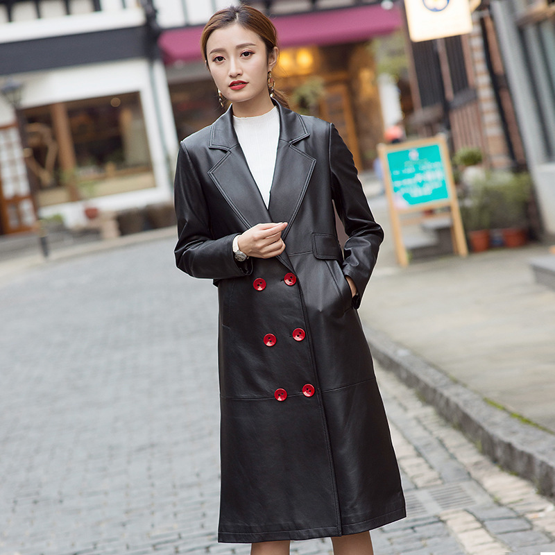 Winter Real Leather Jacket Women Clothes 2020 Streetwear Casual Genuine Leather Long Coat Fashion Sheepskin Coats LW793
