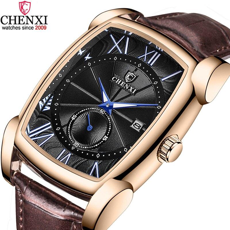 Pulseira de Couro Presente à Prova Chenxi Marca Vintage Relógio Masculino Retro Genuíno Relógios Numerais Romanos Antigo Quadrado Dwaterproof Água