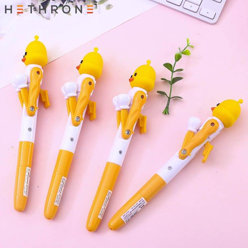 Hethrone 2pcs Little Yellow Duck Office Boxing Modeling Gel Pen For School Supplies Stationery Stylus Pen Black Calligraphy Pen