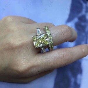 Image 4 - Sljely Echt 925 Sterling Zilveren Grote Zirconia Geel Wit Rechthoek Dubbele Ring Voor Vrouwen Wedding Engagement Party Sieraden