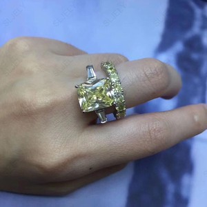 Image 4 - Slzely anillo doble rectangular para mujer, Circonia cúbica grande, Plata de Ley 925 auténtica, amarillo, blanco, joyería para fiesta de compromiso