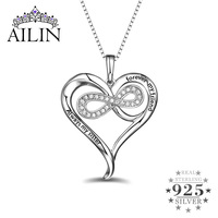 Wholesale Engraved Sterling Silver Necklace For Lady Infinity Heart Pendant Love Necklace For Your Mother