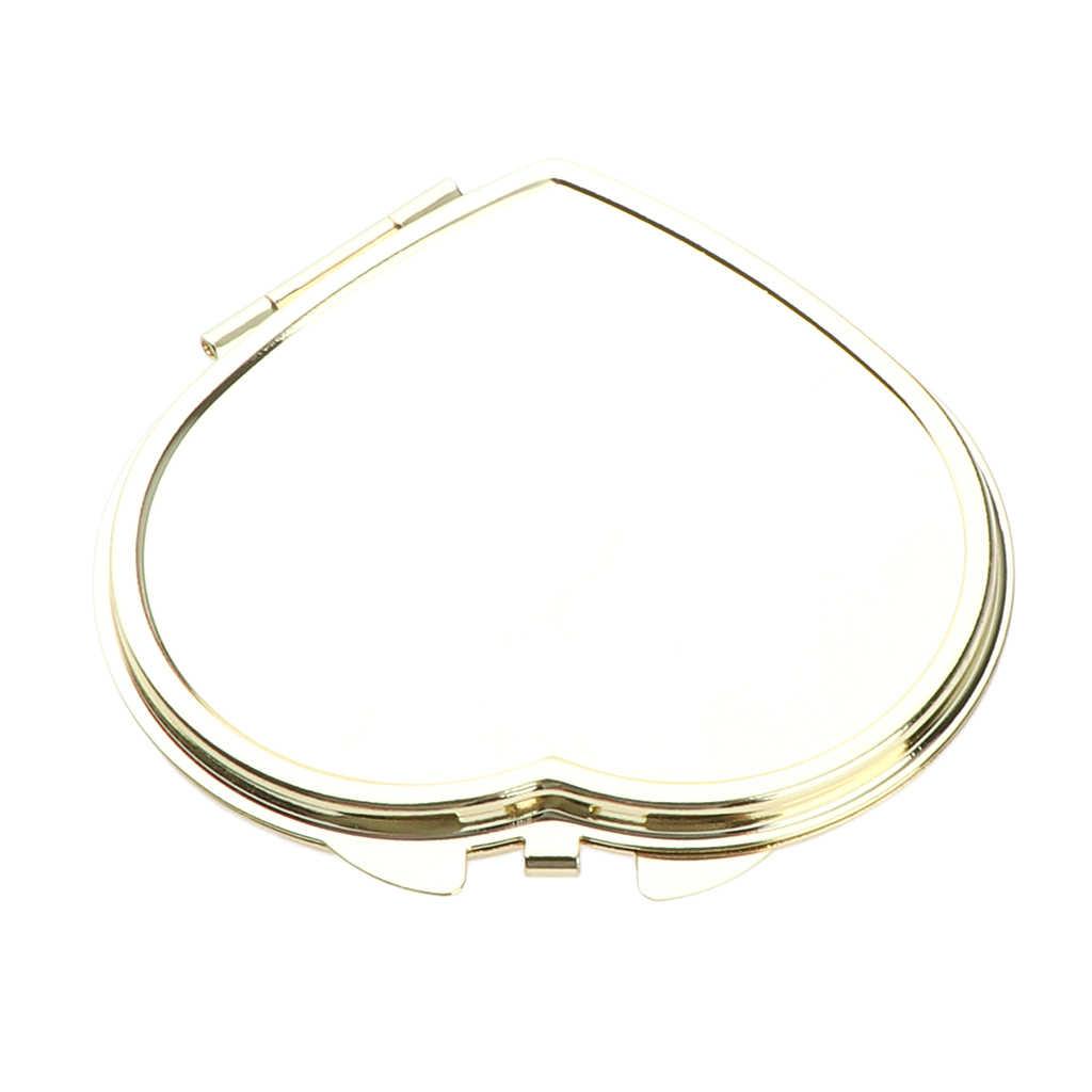 Goud Compact Purse Spiegel, Metalen Hartvormige 2 Sided Spiegels-Duidelijke Reflectie & Locking Sluiting, romantische Kleine Gift Voor Haar