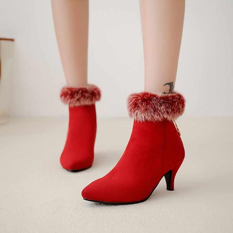 Große Größe 9 10 11-17 stiefel frauen schuhe stiefeletten für frauen damen stiefel schuhe frau winter Schleife schleife zurück zipper spitze