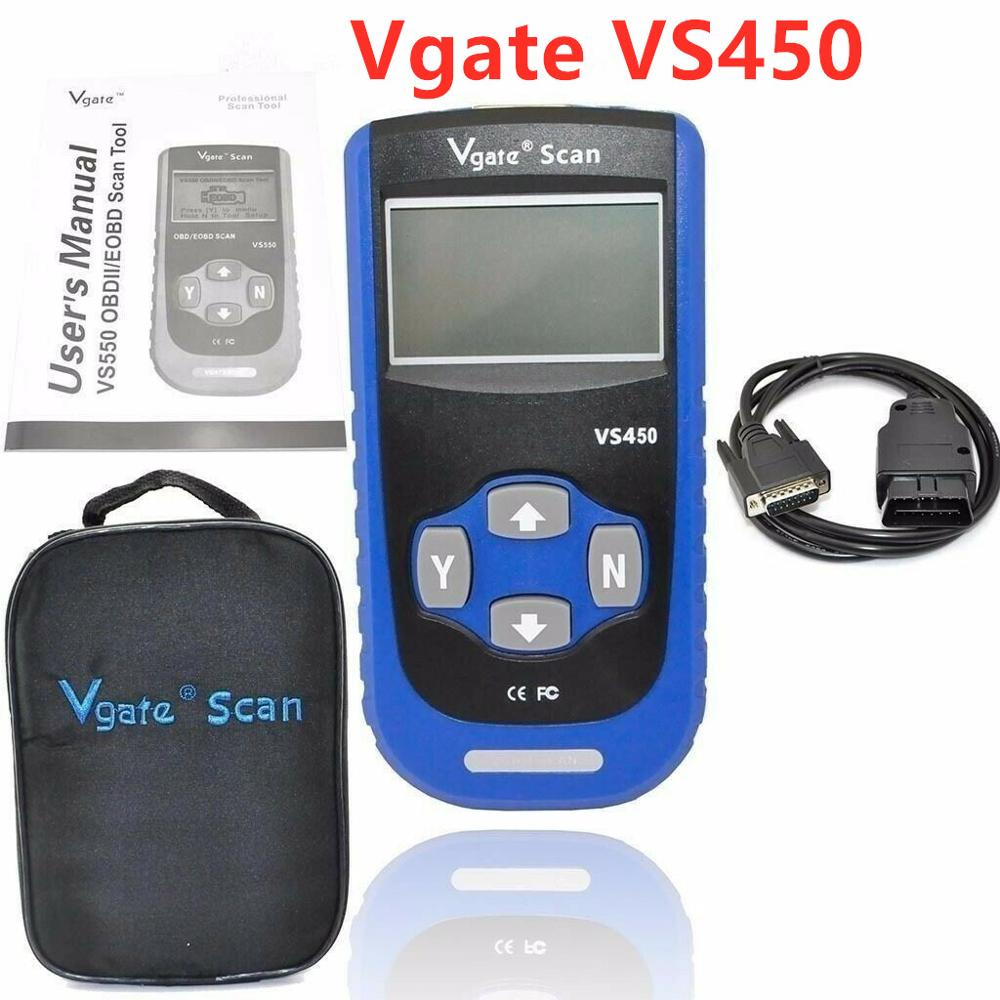 Vgate VS450 VAG CAN OBDII SCAN TOOL Code Reader Com Reset Airbag ABS For VS 450 Cars OBD2 Scanner For Vag OBDII