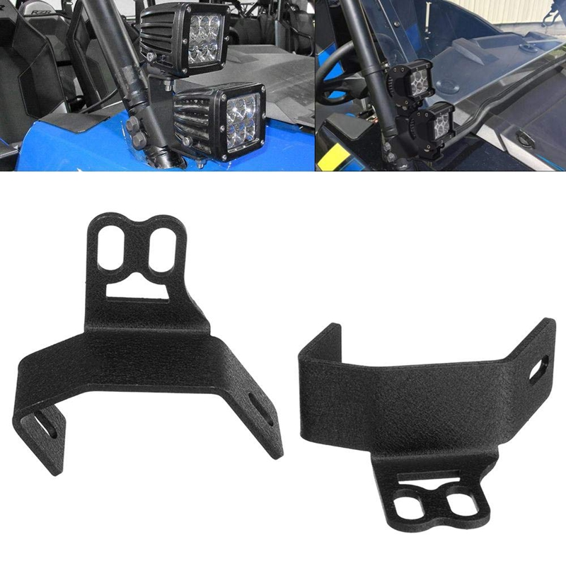 NEW-2Pcs Below Side Pillar Roll Bar LED Work Light Below Windshield Mounting Brackets Fits 2014-2019 Polaris RZR XP 1000 900 Mod