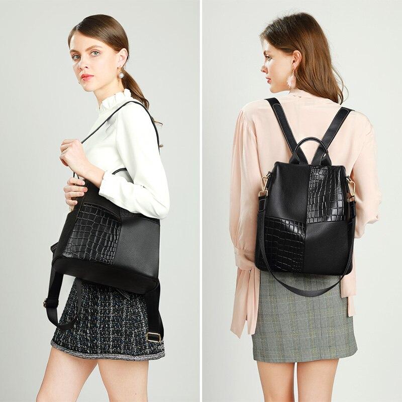 LAORENTOU marque véritable cuir de vache femmes sac à dos grande capacité sac d'école souple pour adolescente dame stylishtravel sac à dos - 3