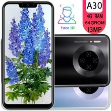 A30 טלפונים חכמים 6.26 אינץ 4G RAM 64G ROM quad core 13mp פנים מזהה סמארטפון אנדרואיד טלפונים ניידים זול celulares גלובלי גרסהטלפונים ניידים
