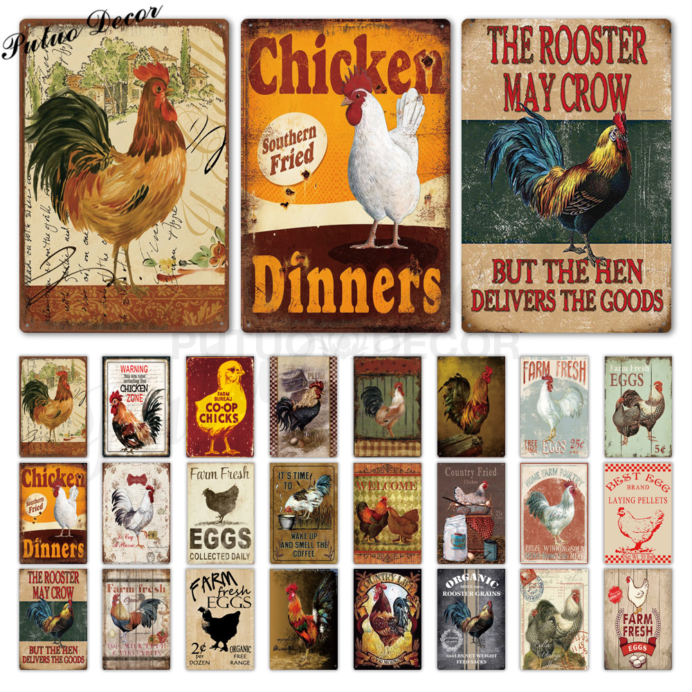 Chicken Tin Sign Vintage Metal Sign Plaque Metal Vintage Farmhouse Wall Decor Rooster Retro Metal Signs(20x30cm) image