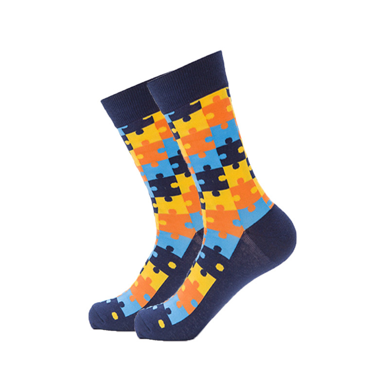High-quality Men Happy Socks Casual Combed Cotton Mens Funky Socks Fashion Colorful Jigsaw Puzzle Series Man Long Sock