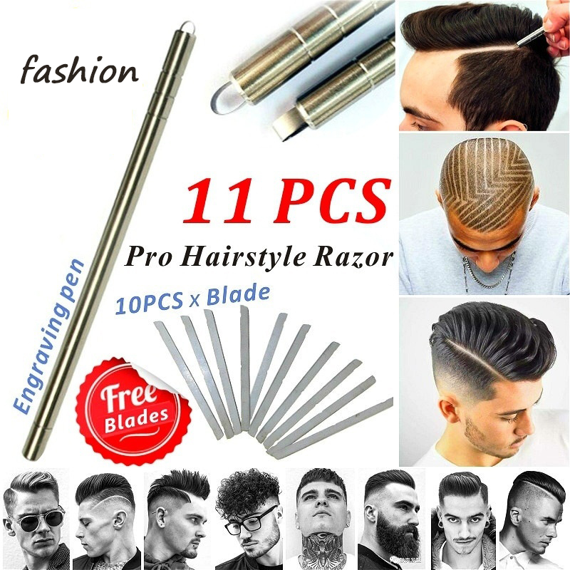 Magic Engrave Beard Hair Scissors Eyebrow Carve Pen Tattoo Barber Hairdressing Scissors Eyebrow Oil Head Carving
