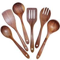 ABSS-Wooden Utensils Set of 6, Large Kitchen Cooking Utensil for Non Stick Cookware, Natural Teak Wood Spoons Spatula Ladle Cola