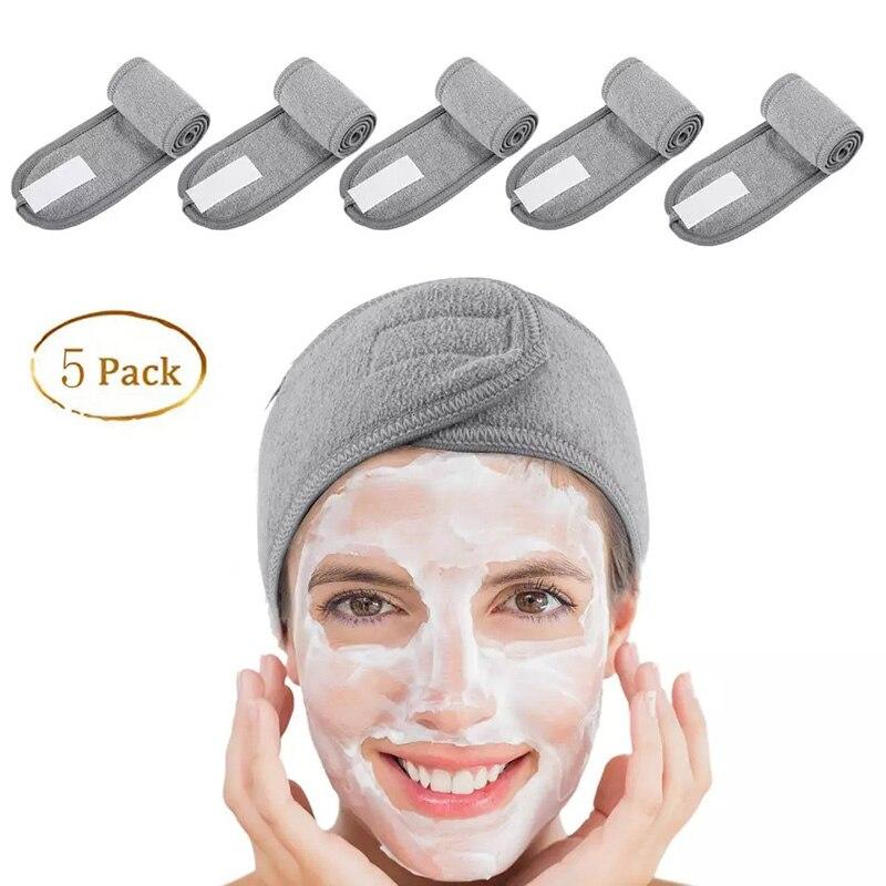 5 PCs Spa Gesichts Stirnband Machen Up Wrap Kopf Terry Tuch Stirnband Stretch Handtuch mit Magic Tape