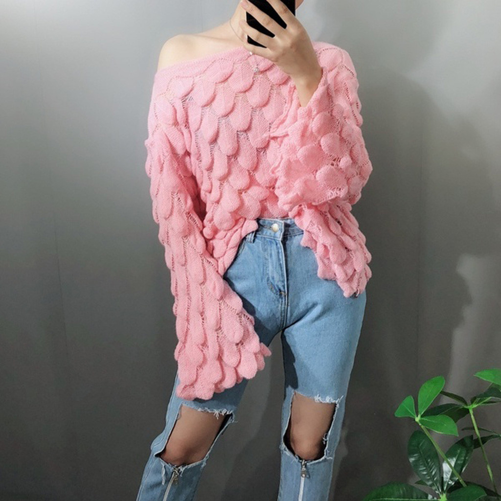 Oversized Sweater Women Fashion Winter Long Sleeve Feather Knit SLash Neck Off-Shoulder Sweater New High Quality Pullovers