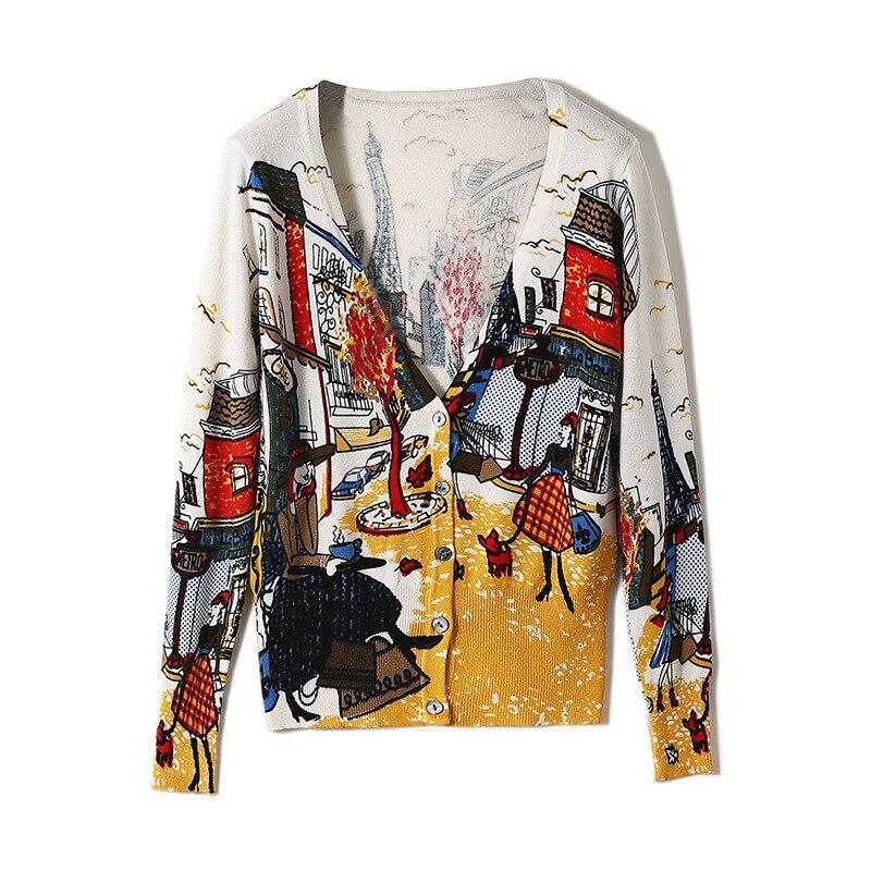 Women Loose Cardigan Coat Print Design Sweater Jacket Cute Sweet Girl Casual Long Knitted Cardigan Cape Top M190801