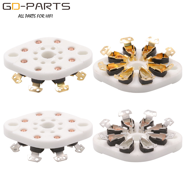 GD PARTS 10PCS Chassis Mount 8pin K8A Octal Ceramic tube sockets for KT88 EL34 6SN7 5AR4 GZ34 5881 6V6 5U4G 6550 6J7 6SJ7 6CA7