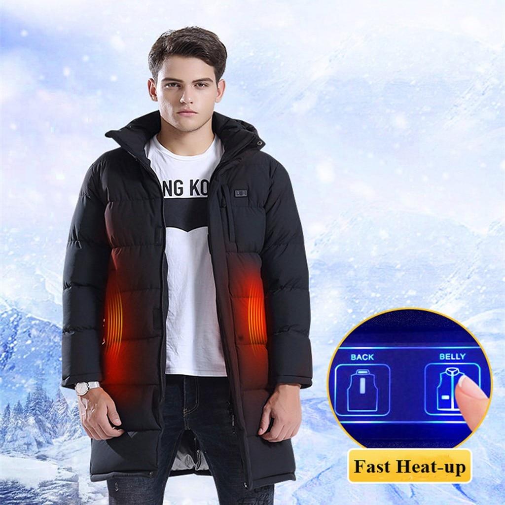 Tide Smart USB куртка с электрическим подогревом для мужчин Высокое качество сплошной черный теплый пуховик на молнии мужской топ с капюшоном толстое длинное пальто