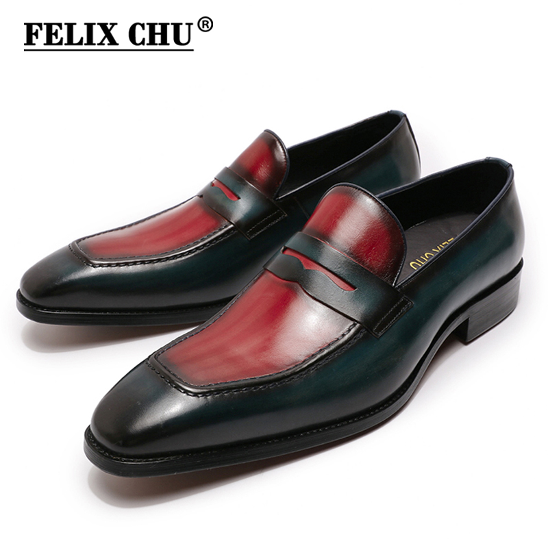 Large Sizes Mens Penny Loafers Genuine Calf Leather Blue Red Men Dress Shoes Italian Design Handmade Slip On Male Wedding Shoes
