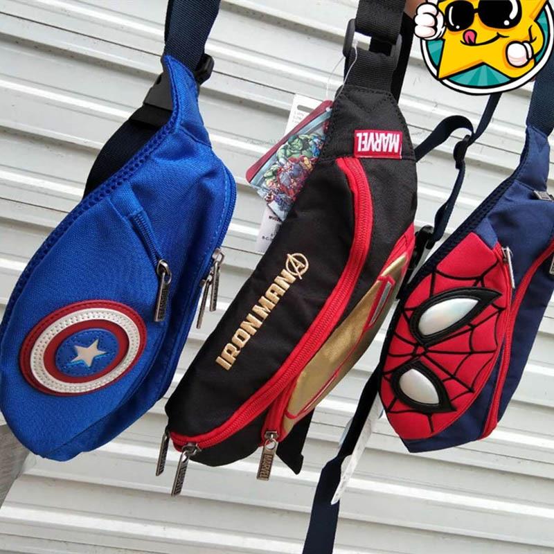 New Spider-Man Waist Bags For Kids Canvas Kids Fanny Pack High Capacity Chest Bag Banana Bag Super Hero Shoulder Kidney Bags
