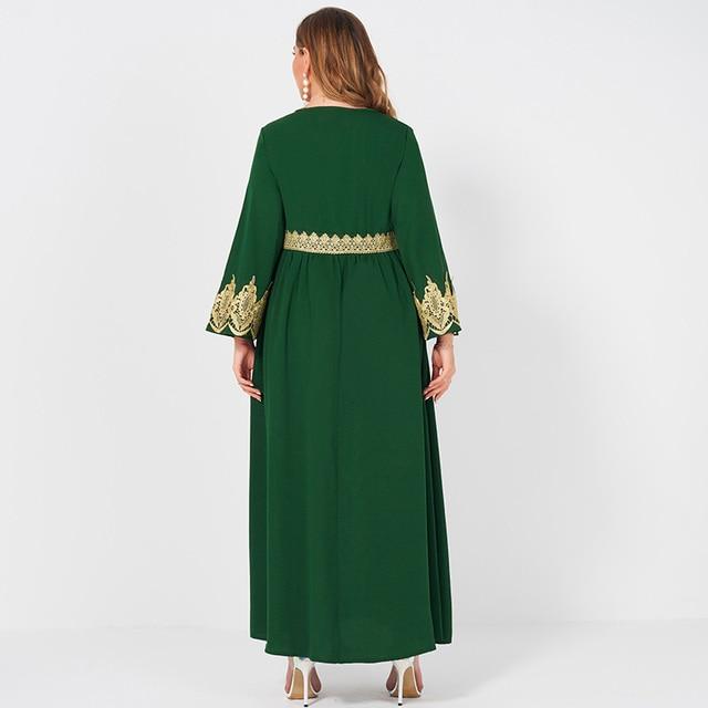 Spring  Autumn New Women's Fashion V-neck Lace Stitching Long Banquet Elegant Plus Size Slim Long-sleeved Dress 2