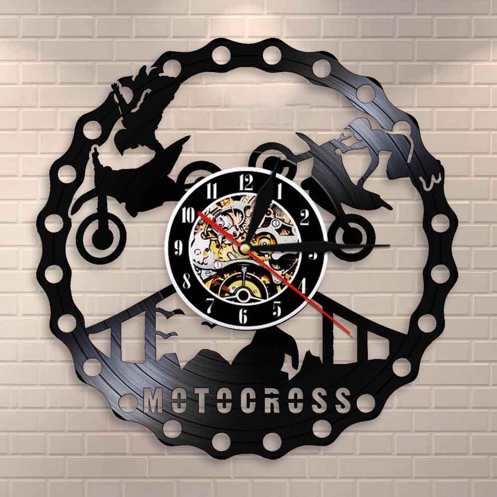 Motocross Racing Brappp Decor Modern Wall Clock Dirtbike Trick Riding Vinyl Record Clock Freestyle Motorcycle Racing Riders Gift