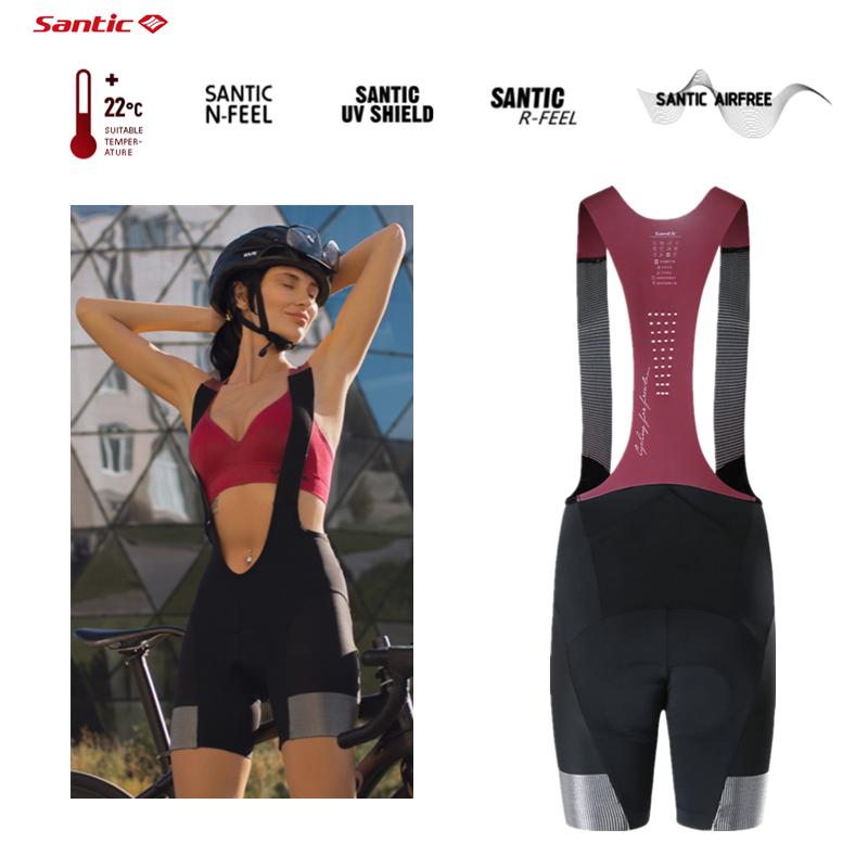 Santic Women Bib Pants Shockproof with Padded Tights Short Breathable Quick Drying MTB Bicycle Bib Shorts Summer Bike Cycling
