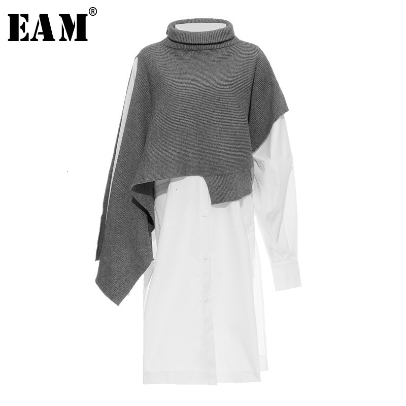 [EAM] Women Gray Irregular Split Joint Long Big Size Dress New Turtleneck Long Sleeve Loose Fit Fashion Spring Autumn 2020 1H204