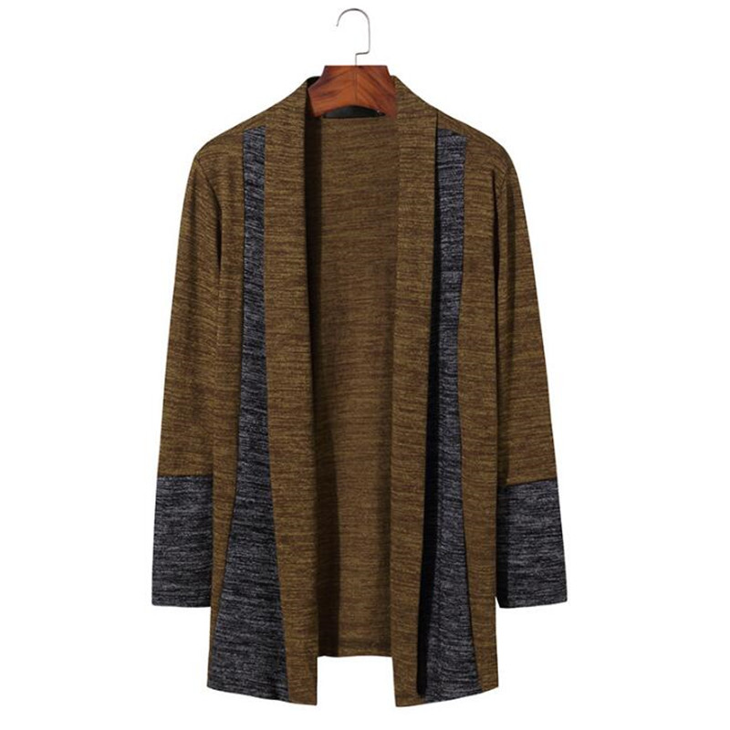 Patchwork Cardigan Sweater Men Stylish Shawl Collar Mens Sweaters Coat Casual Slim Fit Men's Cardigan Tops Pull Homme Sweter XXL