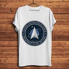 Stati Uniti Spazio Forza badge stampato geek maglietta degli uomini di new white casual t shirt a manica corta unisex streetwear tee