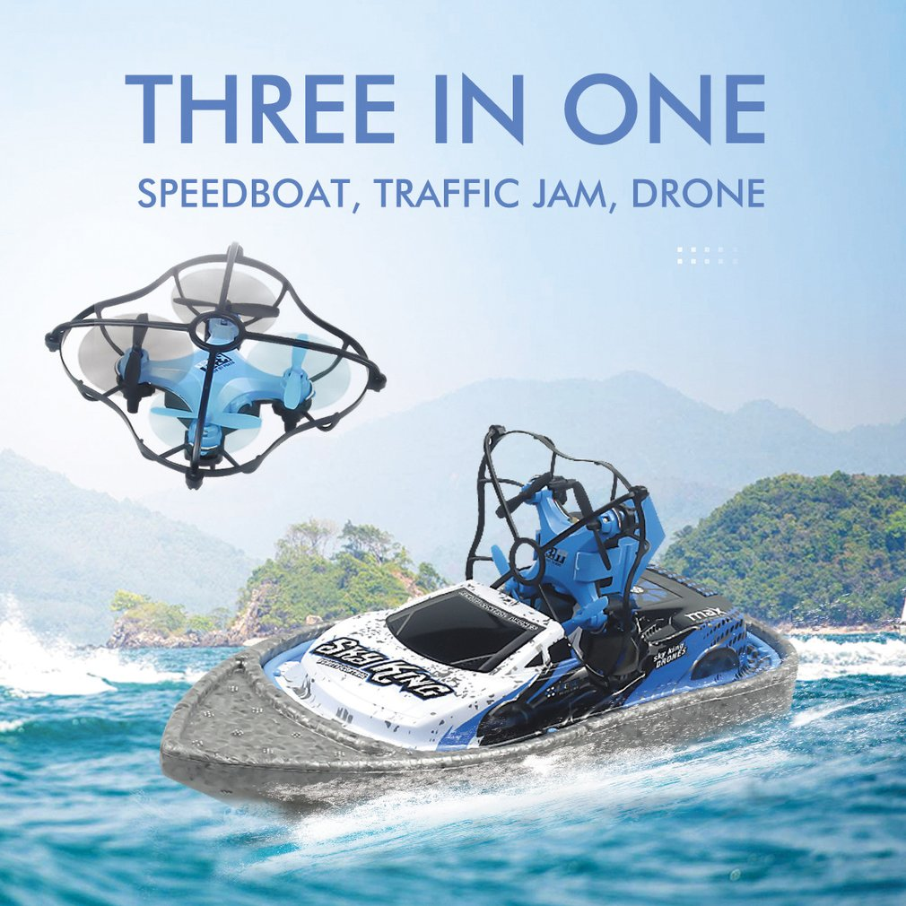 Boat Drone 360-degrees Drone Helicopter Water Racing Boat Drone 3 In 1 RC Drone Quadcopter/Vehicle/Hovercraft