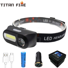 Dropshipping LED Rechargeable Portable Mini XPE+COB Headlamp USB Charging Headlight Waterproof Flashlight Rotatable
