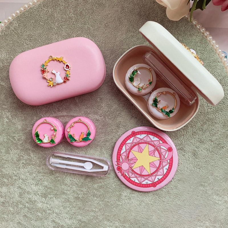 Hot Cute Flowers and rabbits Contact Lens Case For Women Hard Box Lenses Container Holder Eyewear Accessories