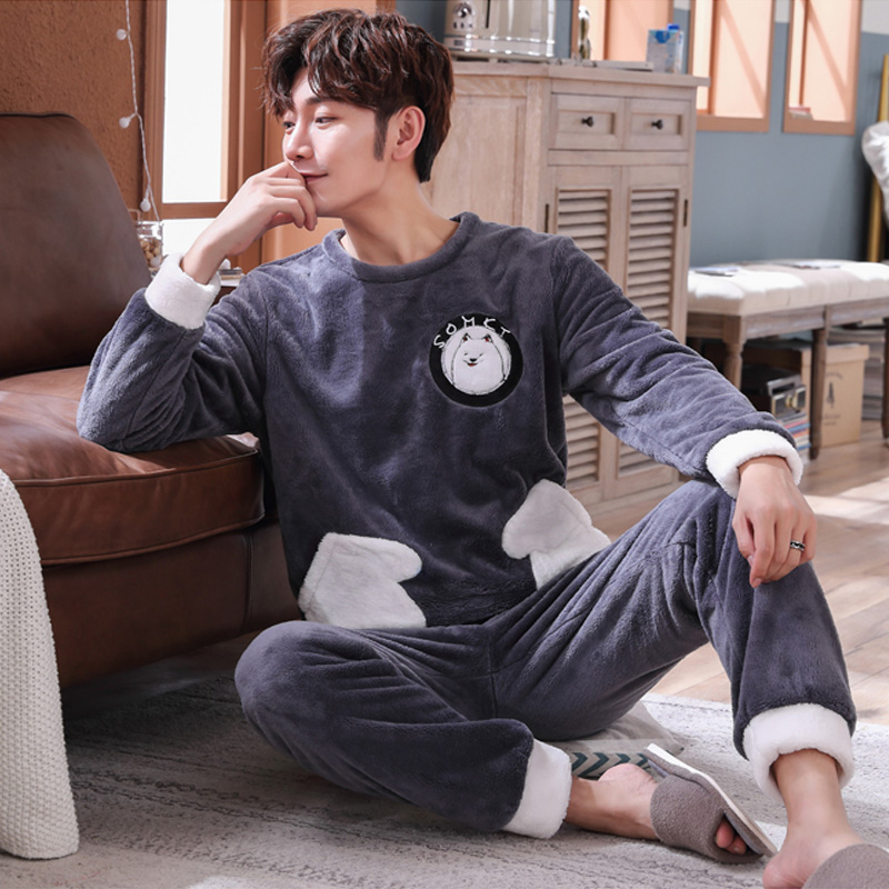 Plus Size 3XL 4XL 5XL Sleepwear Long Sleeve Winter Warm Flannel Pajamas Sets Pocket Long Pant Male Pyjama Set Leisure Outwear