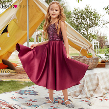 Девушка платье когда-либо красивая высокое качество бордовое пайетки вечеринка платье для девочек длинное цветок девушка платье день рождения принцесса 2020 EK00962