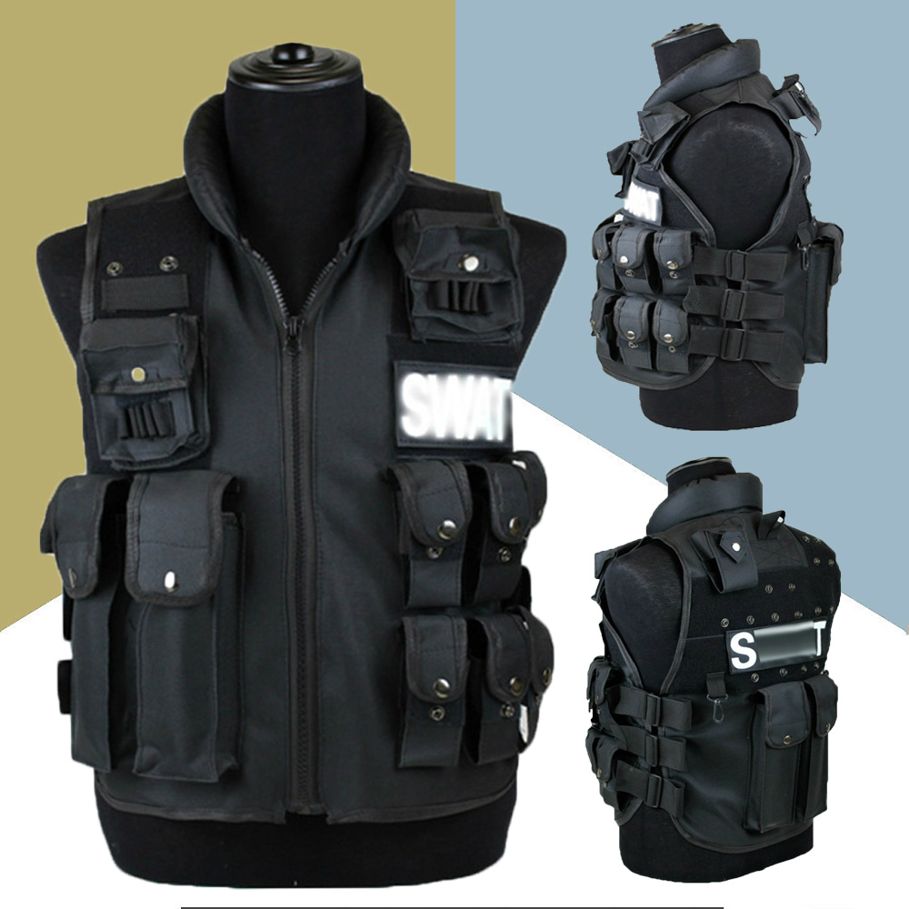 Chaleco táctico con 11 bolsillos, chaleco para cazar en el exterior, chaleco de entrenamiento militar CS, chaleco protector swat Modular de seguridad LYZ, tácticas SWAT, escudo, juguetes para juego de callos