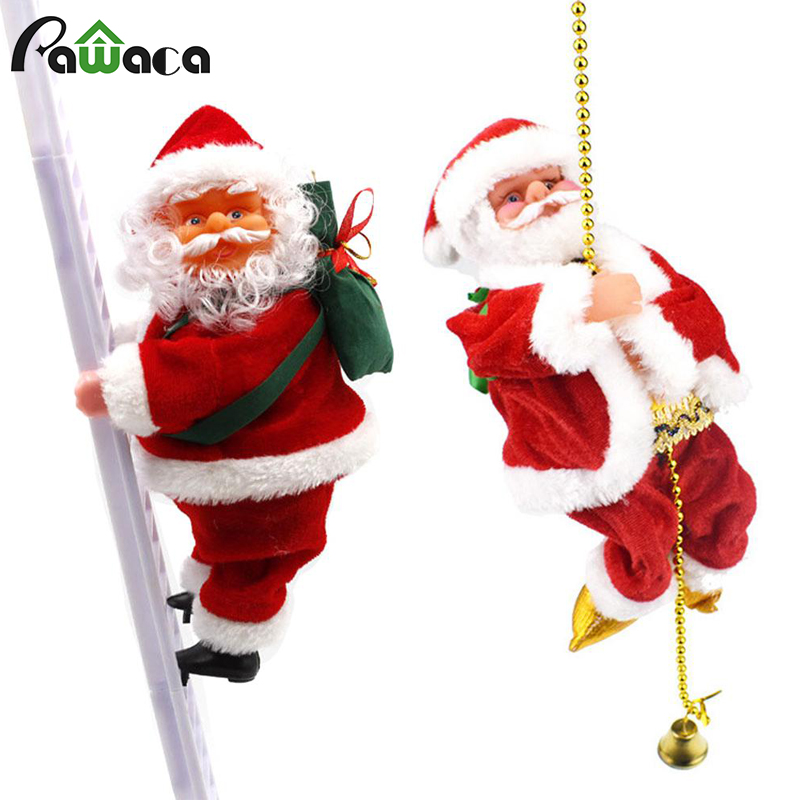 Electric Climbing Ladder Santa Claus Xmas Figurine Tree Ornament Climbing Rope Plush Doll Hanging Decoration New Year Kids Gifts