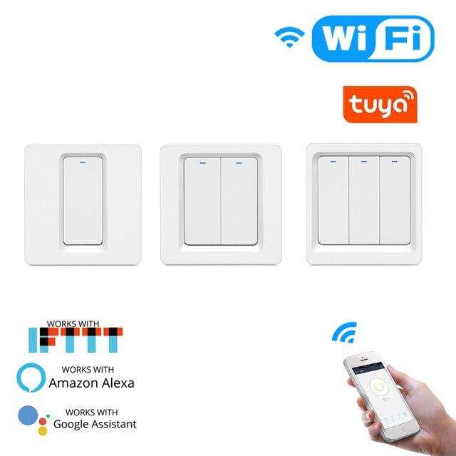 WiFi akıllı ev ışık anahtarı basma düğmesi uzaktan anahtarı kontrol çalışma akıllı yaşam/Tuya APP ile Alexa Google ev için ses kontrolü