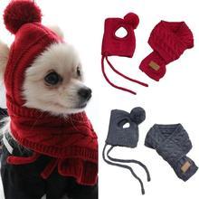 Модная зимняя теплая вязаная шляпа для животных, комплект шапки и шарфа собаки Шапки товары для домашних животных забавные Косплэй Кепка для собаки для чихуахуа аксессуары для щенков