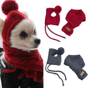 Scarf-Set Puppy-Accessories Pet-Hat Pets-Products Knitted Cosplay Funny Warm Chihuahua