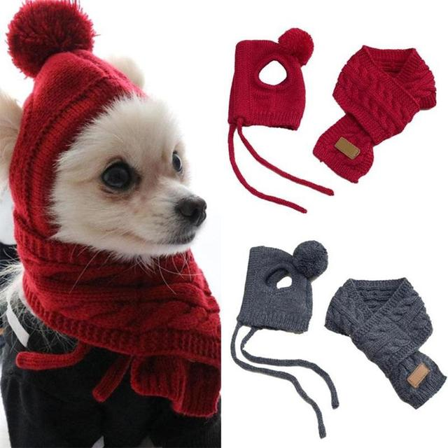 Fashion Winter Warm Knitted Pet Hat Scarf Set Dogs Hats Pets Products Funny Cosplay Pet Dog Cap For Chihuahua Puppy Accessories