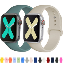 Silicone Strap For Apple watch band 44mm 42mm smartwatch watchband bracelet iWatch 40mm 38mm correa for apple watch 6 SE 5 4 3 7