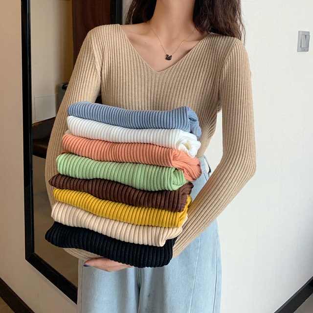 2021 Basic B-neck Solid Autumn Winter Pullover Women Female Knitted Ribbed Sweater Slim Long Sleeve Badycon High Quality Sweater 2
