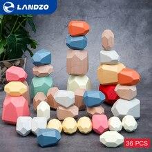 Landzo камень блоки, игрушки для детей, для детей, 36 шт/партия сосна бук камень Дженга строительные блоки образовательные игрушки для штабелиро...