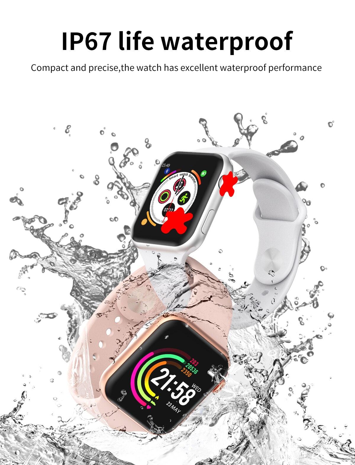 Hbcf764040bab479e9543ed097ace3931k 696 New Style F10 Smart Watch Full touch screen Bluetooth Smartwatch Music Camera Heart Rate Monitor Waterproof Smart Bracelet