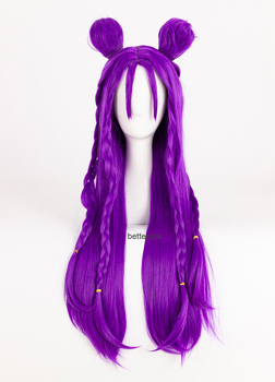 LOL KDA Kaisa Cosplay Wig Daughter of the Void Kaisa 80cm Long Purple Straight Heat Resistant Synthetic Hair Wig + Wig Cap image