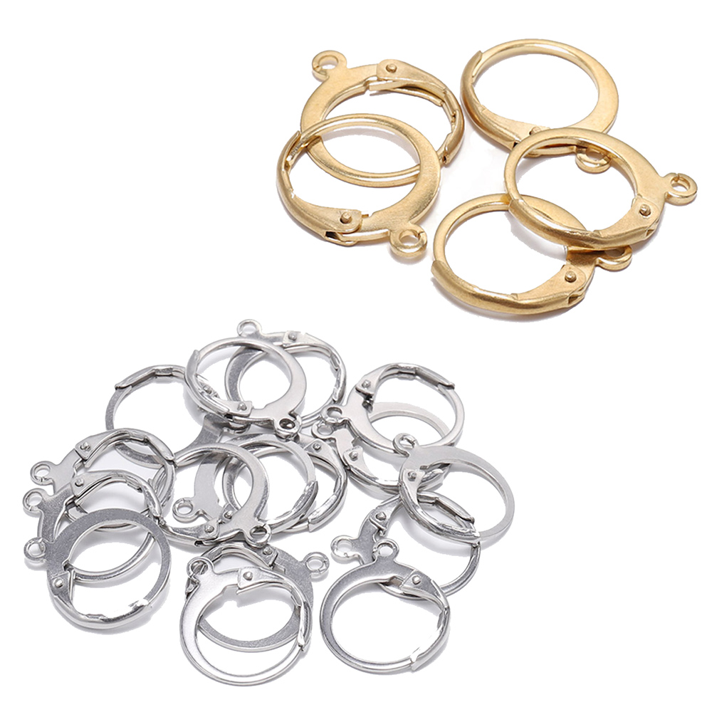 20pcs/lot 14*12mm Gold Stainless Steel French Lever Earring Hooks Wire Settings Base Hoops Earrings For DIY Jewelry Making