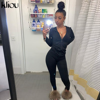 Kliou autumn two piece set women long sleeve hooded zipper pocket sporty Jackets+leggings matching sets workout stretchy outfits 2