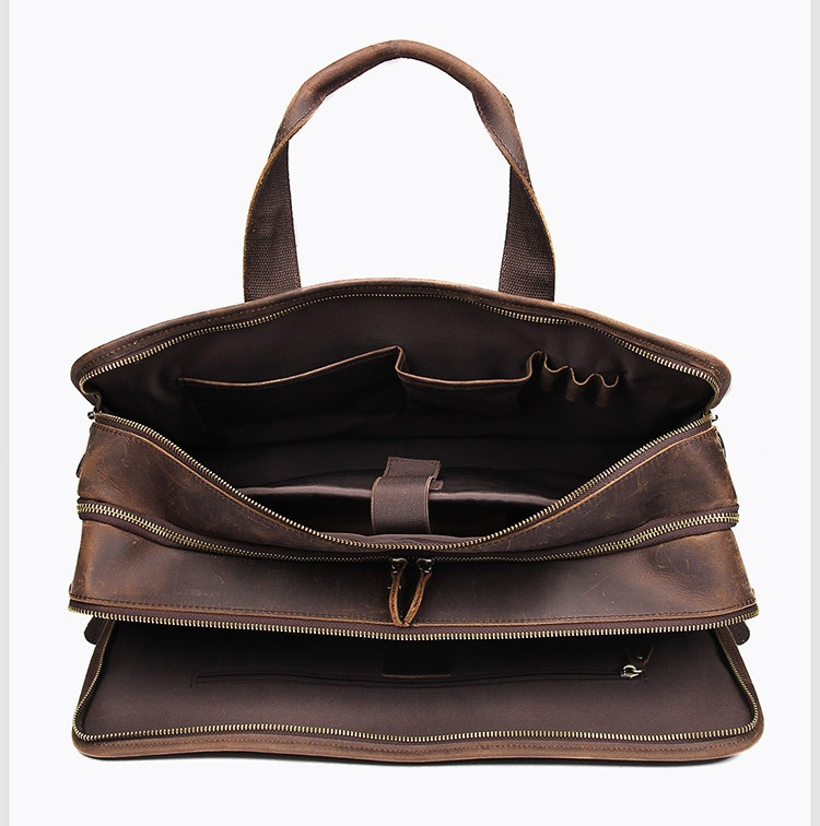Hbcf77e1e43694289a34d0a67298123bbK MAHEU Vintage Leather Mens Briefcase With Pockets Cowhide Bag On Business Suitcase Crazy Horse Leather Laptop Bags 2019 Design
